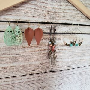 Set of 4 multi color boho earrings